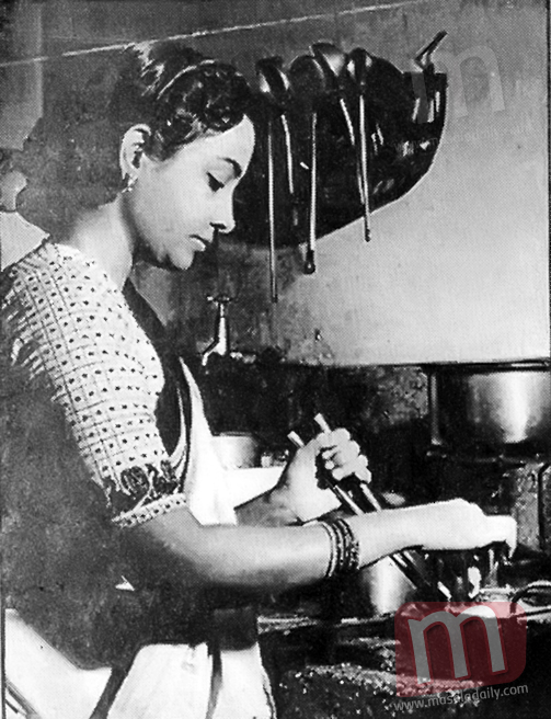 Geeta Dutt in her kitchen