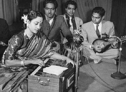 Geeta Dutt during a recording in London at BBC radio station