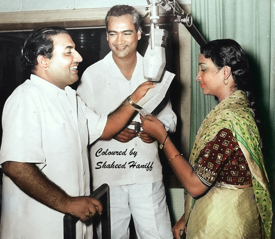 Mohd Rafi, O P Nayyar with Geeta ji (Colourised Picture)