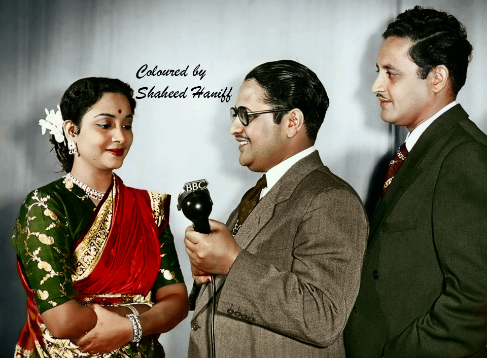 Geeta ji and Guru Dutt during a programme (colourised)